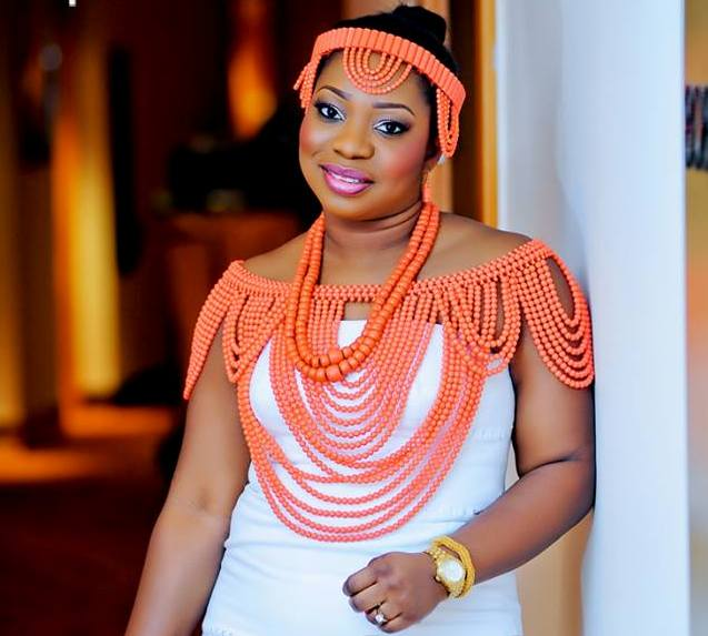 Igbo bride in coral beads made in Nigeria