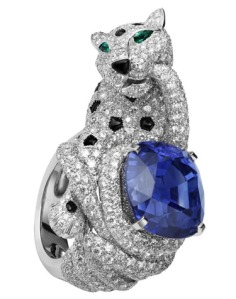 Cartier Panthere ring, 24.46 carat cushion-shaped sapphire, onyx spots and nose, merald eyes