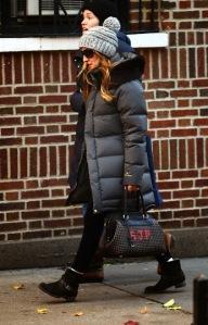 Sarah Jessica Parker carrying FENDI Adele Selleria Intrecciato handbag 11.13.13 NYC