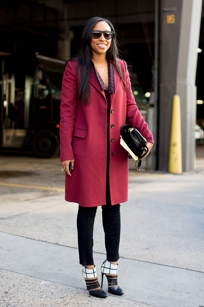 Shiona-Turini-dressed-up-her-trousers-cranberry-coat-pair-ultrachic-black--white-heels