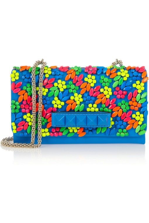 Valentino crystal-embellished leather shoulder bag