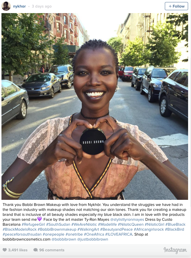 South Sudanese Model Nykhor Paul Thanks Bobby Brown Makeup.